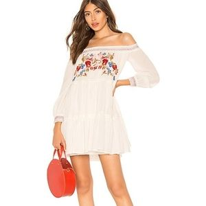 FREE PEOPLE WHITE EMBROIDERED SUNBEAMS MINI DRESS